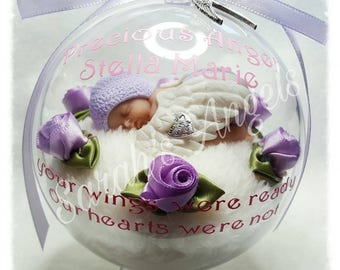 Infant Loss, Miscarriage, Born Sleeping, Angel Baby Memorial Globe (Lilac)