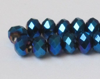 6 x 4 mm Metallic Blue Faceted Glass Rondelle (Qty 40)  90-6-119