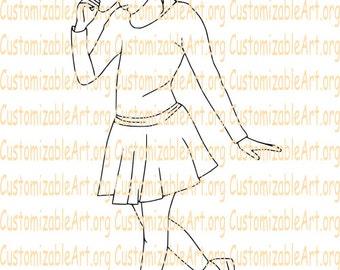 Tap Dance Digital Stamp Tap Dancer Digi Stamp Girl Tap Dancing Line Drawing Illustration Hand Drawn Scrapbook Digital Images Coloring Page