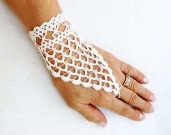 PDF Tutorial  Crochet Pattern,   Fingerless Crochet  Wedding Gloves -1