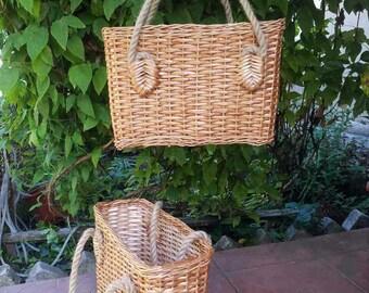Wicker basket purse Shopper French market bag Beach tote Shopping Shoulder bag Gift for her