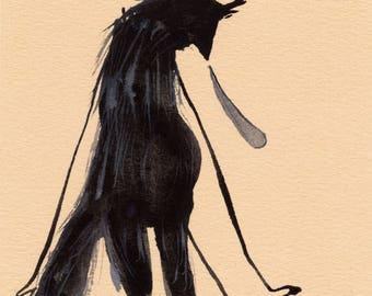 SALE Sad Wolf Original / gouache painting