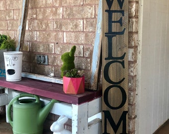 wood welcome sign front porch decor - Front Porch Decor