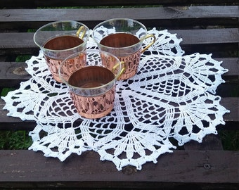 Tea glass and holders, Vintage Glass and Holder, Metal Glass Holder, small glass holders, kitchen decor, copper glass holder, rustic decor