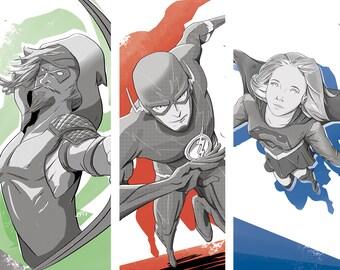 DC TV Bundle • Arrow • The Flash • Supergirl • Comic Book 3 pk Prints illustrated by Brenden Roel de Vries