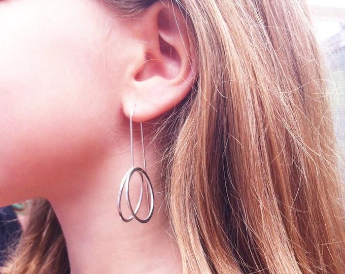 Silver circle earrings - hoop earrings - open circle dangle and drop - 3D earrings - long earrings