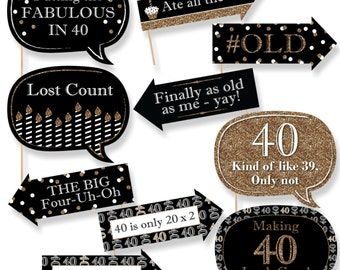 Funny Adult 40th Birthday - Gold Photo Booth Props - Birthday Party Photo Booth Prop Kit - 10 Photo Props & Dowels