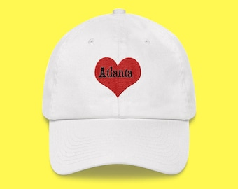 ATLANTA Cap with the word Atlanta inside of an Embroidered Red Heart with FREE SHIPPING