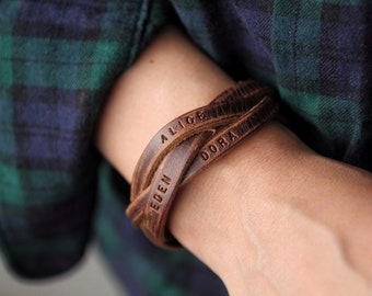 Men's Personalized Braided leather bracelet ,family bracelet ,Bracelet For Men,Custom Men Bracelet,Leather bracelet For Dad,Fathers Day Gift