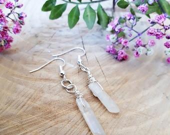 Angel aura quartz earrings, medium, raw crystal earrings, angel aura quartz jewelry, quartz earrings, angel aura jewelry, raw crystals