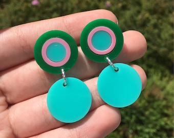 Turquoise, pink & green round drops (Laser Cut Acrylic Earrings)