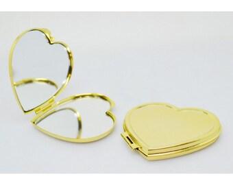 Compact Mirror-heart, steel, nickel