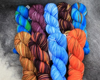 Hand Dyed, Sock Yarn,  Lot  710 thru 718, Superwash Merino/Nylon, 450 Yd, 4.3 oz