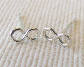 Infinity Stud Earrings in Sterling Silver