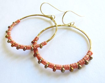 Full Moon Rising Hoops in salmon and antique brass