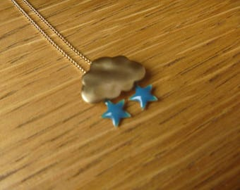Cloud of autumn, gold blue stars: necklace