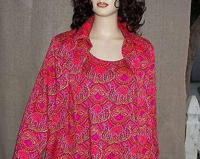 Vintage 70s Pink Handmade Psychedelic Floral Acetate Womens Pullover Tank Top Long Sleeve Button Shirt Set