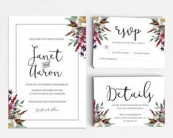 Wedding Invitation Suite, Wedding Invitation Printable, Invitation Set, Wedding Invitation Rustic, Letter or A4