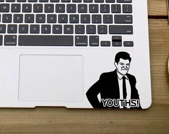 YOUTHS! DECAL Schmidt ~ New Girl ~ Laptop Sticker, Car Decal, Laptop Decal, Water bottle Sticker