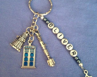 Dr Who Themed Personalised Keyring