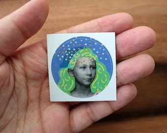 Pastel Color Shades Round Glossy Vinyl Sticker Art, Collage Reproduction Of A Young Girl Portrait Photography Altered Using Posca Pens