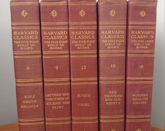 Decorative, Red & Gold, Vintage Bundle of the Harvard Classics- The Five Foot Shelf of Books, Volumes 8, 9, 13, 16, 18