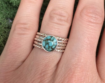 Sterling Silver Number 8 Turquoise Stacking Ring Set, Stacking Ring Set, Stacking Set