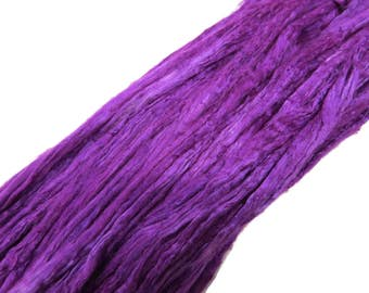 1 oz Mulberry Silk roving, hand dyed , color Purple