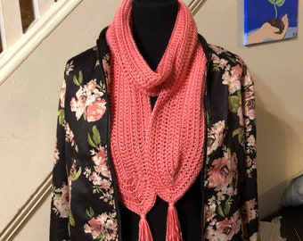 Coral Scarf with Rounded ends and Tassels