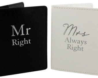 PERSONALISED * Mr Right and Mrs Always Right Passport Holders cover for travel wedding gift ideas