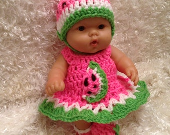 10 Inch Doll Clothes,8 inch Doll Clothes,Watermelon Dress Set.Hat,Dress,Shoes