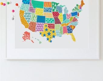 US Map Print, USA Map Wall Art, Kid's Room Art Print, USA Wall Decor, United States Map Poster, Modern Nursery Wall Art Travel Nursery Decor