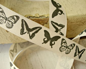 Light Stone Ribbon with Black Butterflies