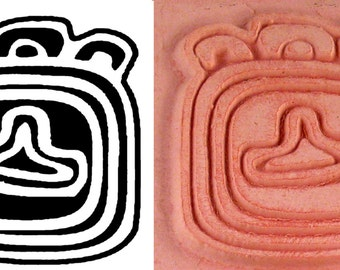 Mayan Southwest Codex Hiergoglyphic Design Stamp - Mayan Codex Hieroglyphic Design for Polymer - PMC - Ceramic Clay- Scrapbooking - Textiles