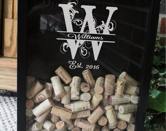 Personalized Wine Cork Shadow Box - Bar Gift -