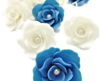 Miniature Polymer Clay Roses Handcrafted with Pearl bead, 10 pieces