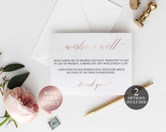 Wishing Well Cards   Rose Gold Printable Wedding Wishing Well   Printable Wishing Well Cards   Pink Wishing Well Poem   Wishing Well Inserts
