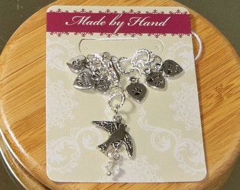 Set of 7 tibetan silver and crystal 6 Love heart my cat and 1 bird knit stitch and row marker set