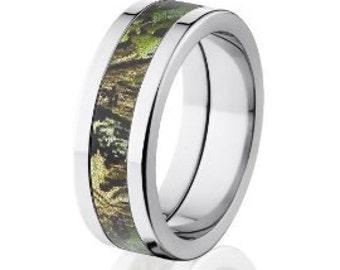 Flat Obsession Mossy Oak Camo Wedding Ring, Mossy Oak Camo Rings: 8P-OB