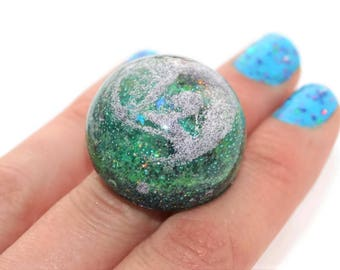 Mermaid Galaxy Ring Green Silver Large Dome Ring Unique Statement Ring Big Large Chunkly Nebula Jewerly
