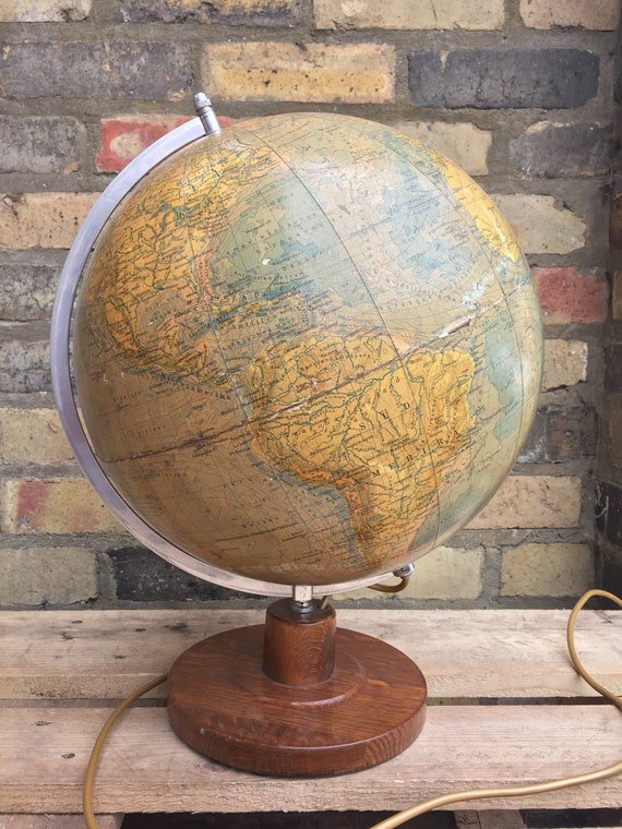 Vintage 1950s East German Globe Lamp Leipzig