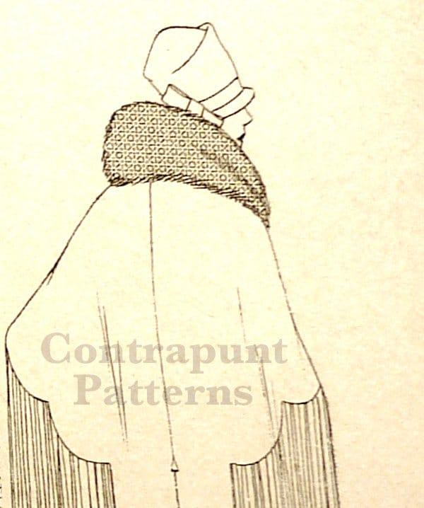Patrón para coser de capa estilo 1920. Plisada de mitad para
