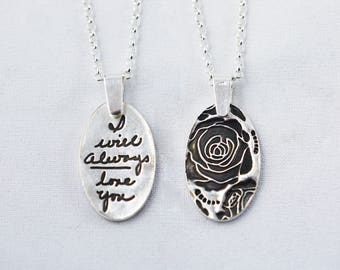 Memorial Jewelry Signature Necklace Your Loved One's Actual Writing or Signature on a Oval Silver Pendant - Handwriting Jewelry