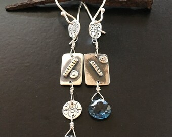 London Blue Topaz earrings,asymmetrical earrings,topaz,maggiesmeltdown,Maggie's Meltdown,silver,silver earrings,long dangles,long drops,