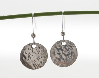 Hammered Simplicity Earrings in Sterling Silver