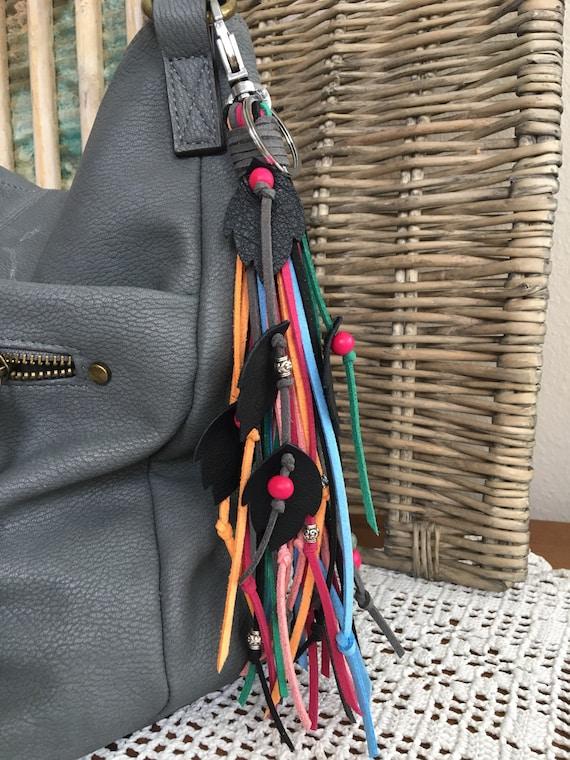 "Boho Fringe Tassel Bag Charm + Keyring Faux Leather Tassel Real Leather Leaves & Wood Beads- 8.5"" Long + Clip (OOAK50)"