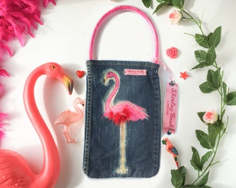Flamingo jeans bag, hand-decorated with red and pink marabou feathers.