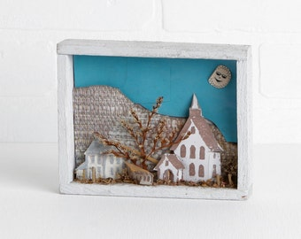 Vintage Small White Painted Shadowbox with Mountain and Town Scene