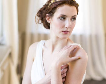 Trailing Flowers Bridal Crown, Headpiece, Tiara, Wreath, Circlet Hair Piece in Silver, Gold or Rose Gold