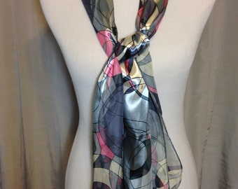 Shades of Gray and Pink Abstract Design Sheer Scarf or Belt 59 Inches Long 13 Inches Wide Previously 20 Dollars ON SALE